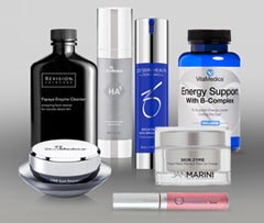 Variety of skin care products